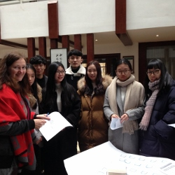 Catherine Evans in Jinhua with students