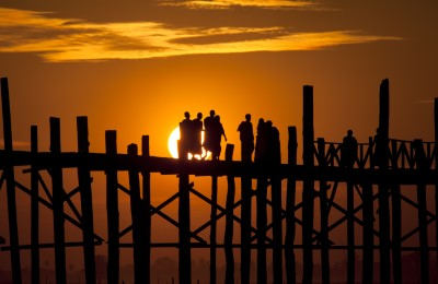 myanmar bridge sunset mandalay diethelm